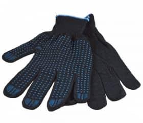 Перчатки хб с ПВХ Точка 10 класс 5 нитей черные