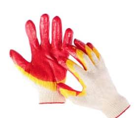 Перчатки хб с двойным латексным покрытием Люкс красные